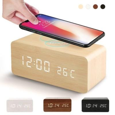 置き時計 子供の日 Qi充電 デ LED表示 ワイヤレス充電 クロック 温度計 カレンダー アラーム ウッド   贈り物 誕生日祝い