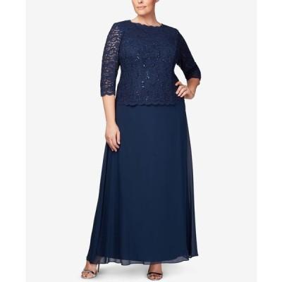 アレックスイブニングス レディース ワンピース トップス Plus Size Sequined Lace Gown