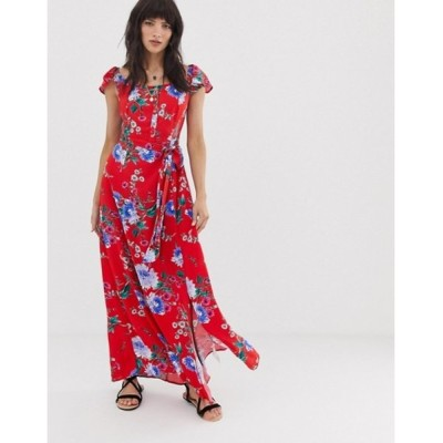 バンドオブジプシーズ レディース ワンピース トップス Band of Gypsies button front off shoulder maxi dress in pink floral print