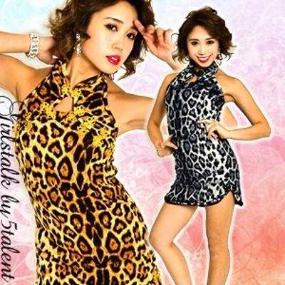チャイナ ミニ ワンピース アニマル 豹柄 デルタ アメリカンスリーブ ワイルド 着心地 ゆったり 中華 キャバ ドレス ストレッチ