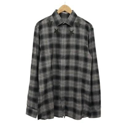 GIVENCHY 18SS スタープリント チェック柄比翼シャツ グレー・ブラック サイズ:38 (堀江店) 200505