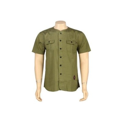アクティブウェア トップス メンズ ハフ HUF Twill Baseball Short Sleeve Shirt (olive) HUFBU221TBSOLI