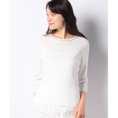 【ラピーヌ ブランシュ】 ビース刺繍ニットプルオーバー レディース ホワイト 40 LAPINE BLANCHE