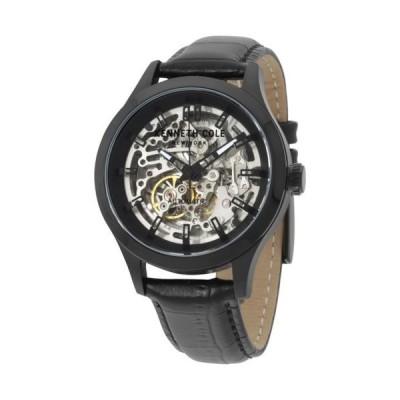 Kenneth Cole 海外セレクトブランド シルバー スケルトン ダイヤル ブラック レザー ストラップ メンズ 腕時計 10027342