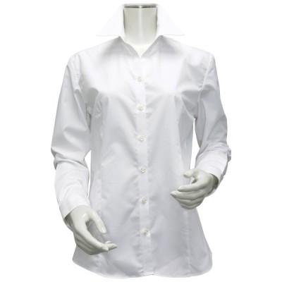 レディース ウィメンズシャツ 長袖 形態安定 スキッパー衿 白無地・ブロード(透け防止)