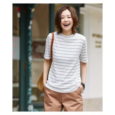 Tシャツ カットソー レディース プチハイネック 半袖 テレコ トップス  S/M/L ニッセン