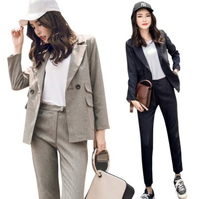 送料無料 スーツ レディース 二点セット パンツスーツ ジャケット スラックス ロングパンツ 長袖