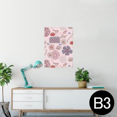 ポスター ウォールステッカー シール式 364×515mm B3 写真 壁 インテリア おしゃれ wall sticker poster 花 ピンク 紫 イラスト 005040