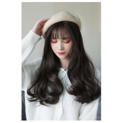 カツラ付き帽子 帽子一体型 帽子用ウィッグ 自然  渋谷系 ロング フルウィッグ カール ロリータ  ウィッグ クラブ グラデーションlolitaネット付き