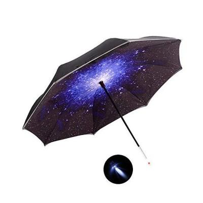 HaiYI LED反転傘 二層車用逆さ傘 防風 UV保護 自立式 SOS警告ライト 反射パイピング 安全 ストレート 雨傘