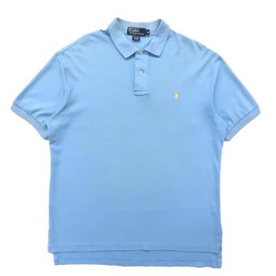 古着 ラルフローレン Polo Ralph Lauren ポロシャツ ワンポイント サックスブルー サイズ表記:M