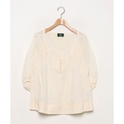 シャツ ブラウス 刺繍7分袖ブラウス
