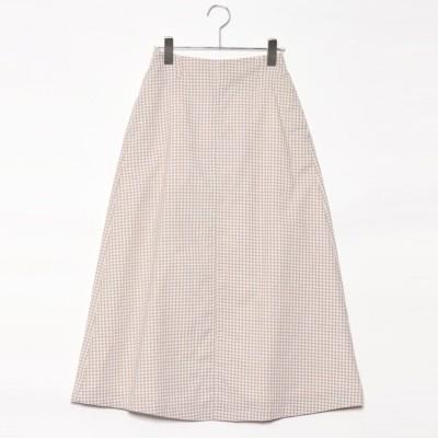 スタイルブロック STYLEBLOCK 先染めギンガムチェックロングスカート (ベージュ)