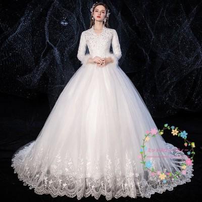 ウェディングドレス 白 安い 結婚式 花嫁 二次会 長袖 プリンセスラインドレス 春新作 ウエディングドレス ロングドレス ブライダル パーティードレス 披露宴