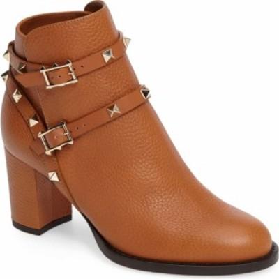 ヴァレンティノ VALENTINO GARAVANI レディース ブーツ シューズ・靴 Rockstud Bootie Cognac Leather