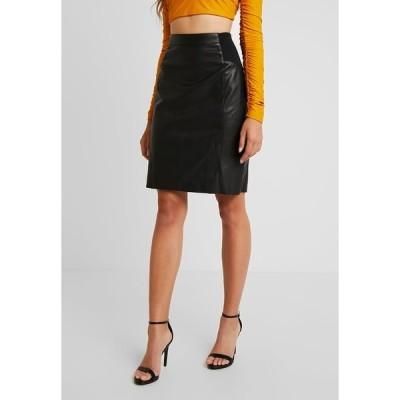 ヴェロモーダ スカート レディース ボトムス VMBUTTERSIA COATED SKIRT - Pencil skirt - black