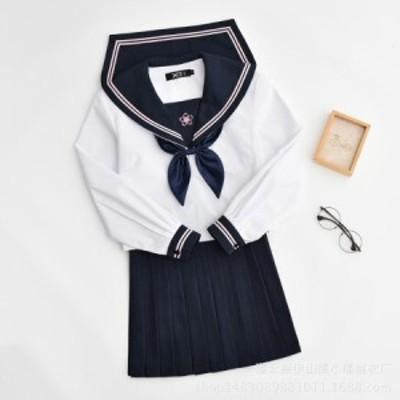 セーラー服 コスチューム 長袖 上着+スカート+リボン コスプレ衣装 女子高生学生服 ハロウィン仮装  gcs2