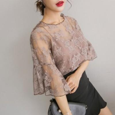 シースルー シフォン 刺繍 ブラウス オシャレ かわいい デート 春 夏 人気 コーデ
