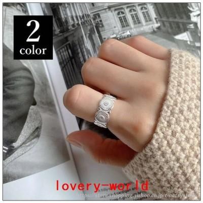リングカフアクセサリーレディース指輪ワイドフラワー花デイジー風フリーサイズおしゃれかわいい女性女の子誕生日記念日プレゼント