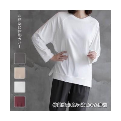 Tシャツ レディース 40代 50代 60代 ファッション おしゃれ 女性 上品 赤 ベージュ グレー ラグラン 長袖 無地 スリット 春秋 ミセス