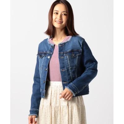 【ミューズ リファインド クローズ】 ノーカラーデニムジャケット レディース ブルー M MEW'S REFINED CLOTHES