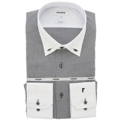 形態安定スリムフィット 3枚衿ボタンダウンクレリック長袖シャツ