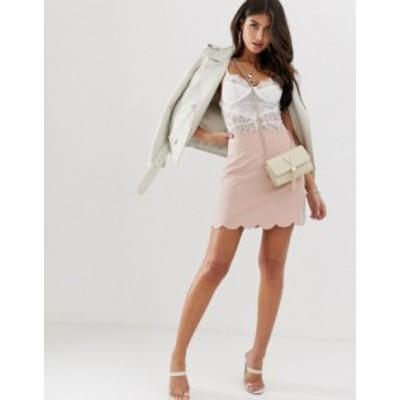 エイソス レディース スカート ボトムス ASOS DESIGN tailored a-line mini skirt with scallop hem Nude