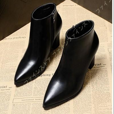 ブーツ レディース ショートブーツ 大きいサイズ ハイヒール puレザー チャンキーヒール マーティンブーツ 美脚 オシャレ アンクルブーティー カジュアル