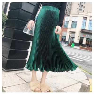 ロング丈 サテンプリーツスカート ロングスカート ウエストゴム プリーツスカート きれいめ サテン生地 光沢 上品 フリーサイズ  大人