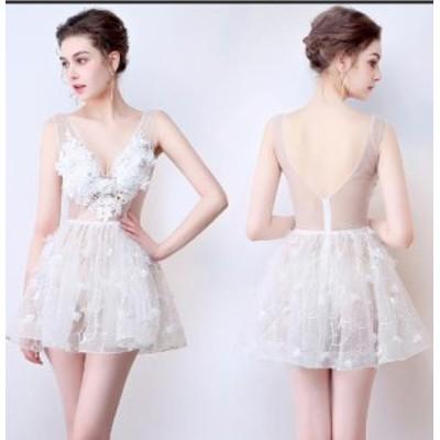 レースパーティードレス ウエディングドレス セクシー ミニスカート夜店低い胸 オープンバック かわいいぼうぼうスカート透視サウナ技師