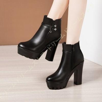 ショートブーツ 美脚 ショート ブーツ 13cm太ヒール ストーム 秋冬 アンクルブーツ 疲れにくい 太ヒール 袴 ブーツ スムース きれいめ 小さいサイズ