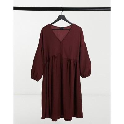 エイソス ASOS DESIGN レディース ワンピース ミドル丈 ワンピース・ドレス oversized textured shirt smock midi dress in burgundy バーガンディ