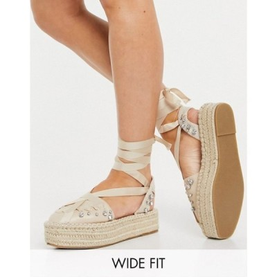 エイソス レディース サンダル シューズ ASOS DESIGN Wide Fit Jersey flatform espadrilles with ankle tie in beige