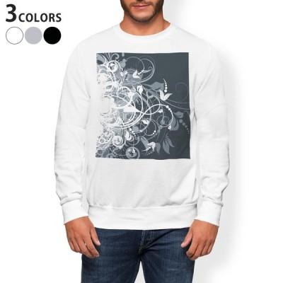 トレーナー メンズ 長袖 ホワイト グレー ブラック XS S M L XL 2XL sweatshirt trainer 裏起毛 スウェット 花 フラワー 黒 ブラック 007666