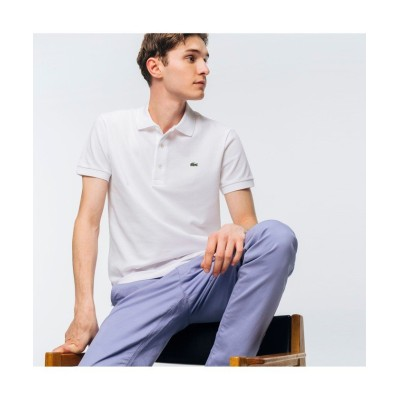 【ラコステ】 スリムフィットソリッドポロシャツ(半袖) メンズ ホワイト 6(日本サイズXXL) LACOSTE