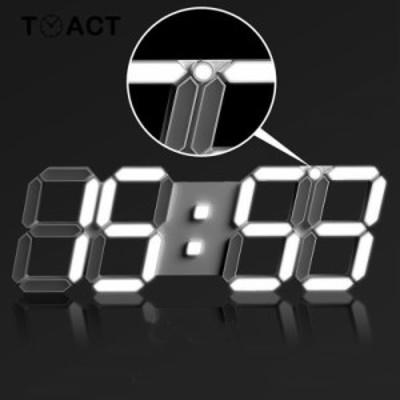 3D 掛け時計 壁掛け時計 デジタル アラーム 目覚まし ナイトライト 温度計 永久カレンダー ミュート 発光