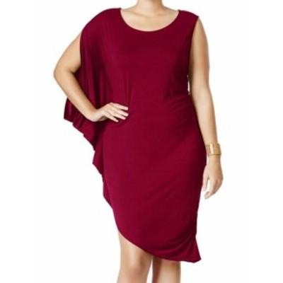 One  ファッション ドレス Whitespace NEW Red Womens Size 2X Drape One Shoulder Sheath Dress