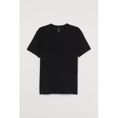 H&M - スリムフィット VネックTシャツ - ブラック