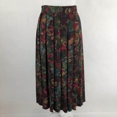 プリーツスカート 総柄スカート お花 フルーツ 絵画風 ヴィンテージ オリーブ系 レディースL n022818