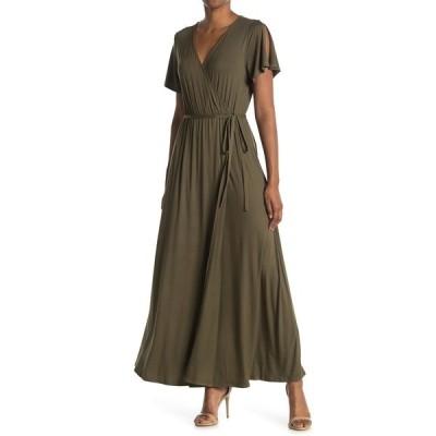 ウエスト ケイ レディース ワンピース トップス Knit Wrap Maxi Dress OLIVE