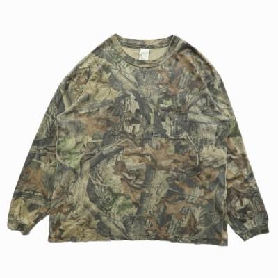 古着 リアルツリー ロングスリーブTシャツ ロンT ポケットTシャツ 総柄 長袖 サイズ表記:XL