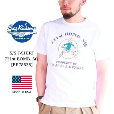 バズリクソンズ プリントTシャツ ホワイト Buzz Rickson's S/S T-SHIRT 721st BOMB. SQ.