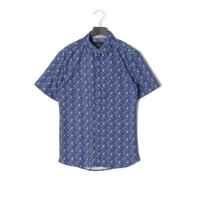 Leaves Shirt 半袖シャツ ホワイト/ブルー l