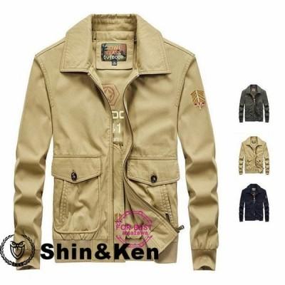 ミリタリージャケット メンズ ジャケット ブルゾン 綿100% 大きいサイズ カジュアル 秋物