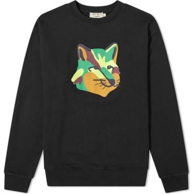 メゾン キツネ Maison Kitsune メンズ スウェット・トレーナー トップス Neon Fox Print Sweat Black
