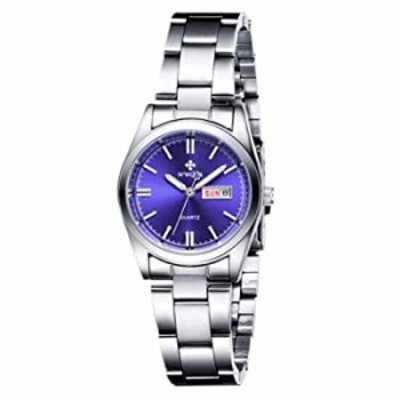 腕時計 女性用腕時計  夜光 防水 カレンダー レディース ステンレススチール ドレスクォーツ腕時計  29mm ブルー