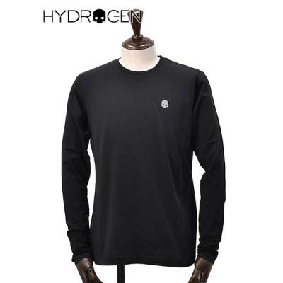 ハイドロゲン HYDROGEN 長袖Tシャツ メンズ クルーネックカットソー  コットン100% ブラック リフレクタープリント スカルデザイン でらでら ブランド