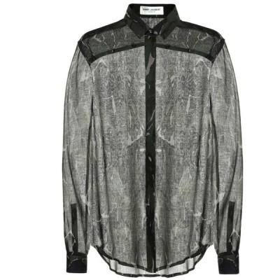 イヴ サンローラン Saint Laurent レディース ブラウス・シャツ トップス Camouflage virgin wool shirt Militaire