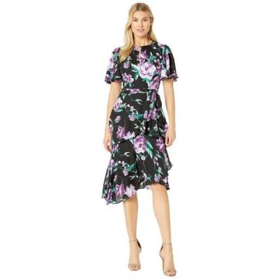 タハリバイエーエスエル レディース スカート ドレス Flutter Sleeve Printed Chiffon Tiered Floral Dress