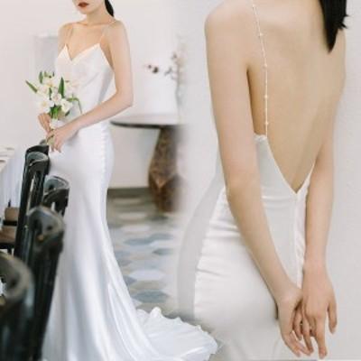 花嫁 ウェディングドレス ファスナー 白ドレス ワンピース 花嫁 結婚式 二次会 披露宴 前撮り 後撮り 撮影用 ビーチフォト フォトウェデ
